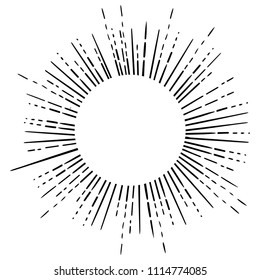 Outline drawing of retro sun bursts and sacred geomety. Vintage radiant sun rays shape for tattoo flesh design, yoga logo, labels or emblems and etc. Isolated vector illustration.