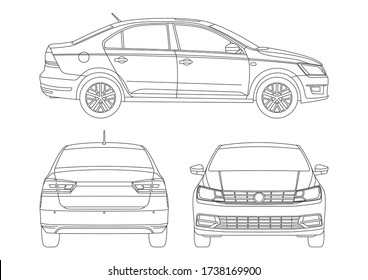 outline drawing of a sedan. New Santana.