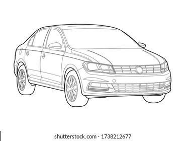outline drawing of a sedan. New Santana.