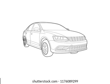 outline drawing of a sedan. Volkswagen Jetta.