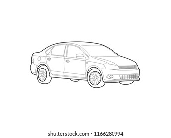 outline drawing of a sedan. Volkswagen Polo Sedan.