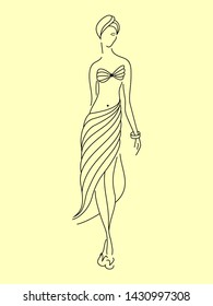 Outline drawing of a silhouette of a tender young beautiful elegant girl in full growth, dressed in a bra from a swimsuit, a long draped pareo skirt in slippers on her legs, with a turban on her head