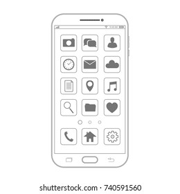 Outline drawing smartphone. Elegant thin line style design. Vector smartphone with UI icons.