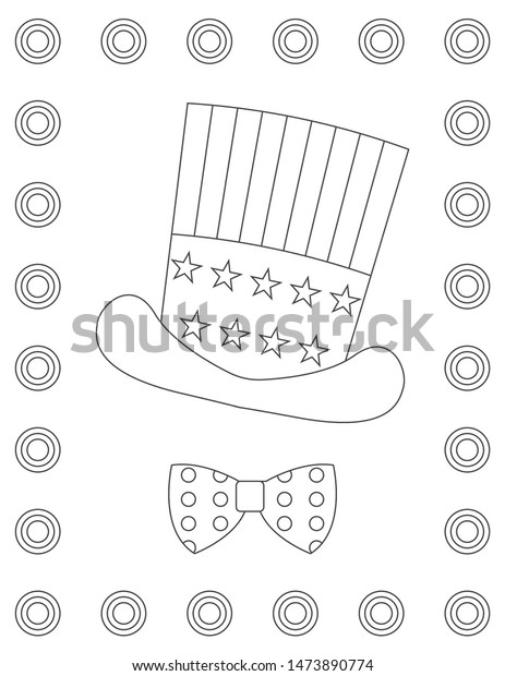 outline drawing starstriped hat bow tie stock vector royalty free 1473890774 shutterstock
