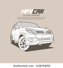 Outline drawing suv car vector illustration in low angle.