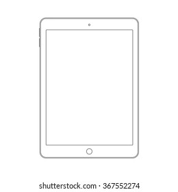 Outline drawing tablet similar to ipad air. Elegant thin line style design.