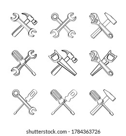 Outline drawing tools sign set. Collection of different tool symbols icon. Repair instruments wrench screwdriver saw hammer spanner