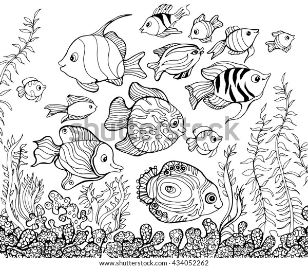 Outline Drawing Underwaterfishcoloring Pages Kids Stock ...