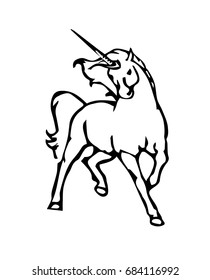 outline drawing of a unicorn
