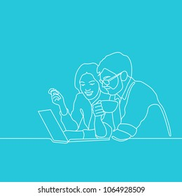 Outline drawing of woman and bearded man in glasses with cup in hands sitting in front of laptop and talking