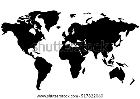 Outline Drawing World Map Black White Stock Vector Royalty Free