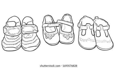Outline drawings of set shoes for little children