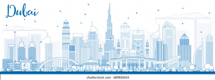 Outline Dubai UAE Skyline with Blue Buildings. Vector Illustration. Business Travel and Tourism Illustration with Modern Architecture. Image for Presentation Banner Placard and Web Site.