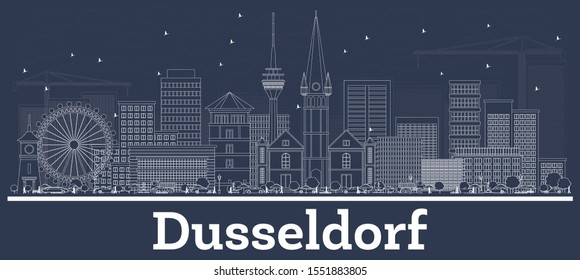 Outline Dusseldorf Germany City Skyline with White Buildings. Vector Illustration. Business Travel and Concept with Historic Architecture. Dusseldorf Cityscape with Landmarks.