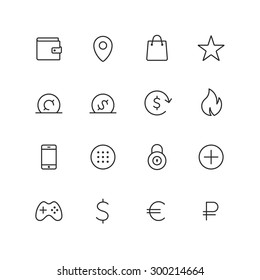 Outline ecommerce vector icons for web and mobile. Thin 2 pixel stroke