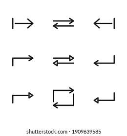 Outline editable stroke arrows vector icon set