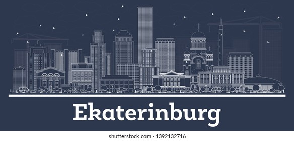Outline Ekaterinburg Russia City Skyline with White Buildings. Vector Illustration. Business Travel and Tourism Concept with Historic Architecture. Ekaterinburg Cityscape with Landmarks.