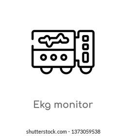 outline ekg monitor vector icon. isolated black simple line element illustration from dentist concept. editable vector stroke ekg monitor icon on white background