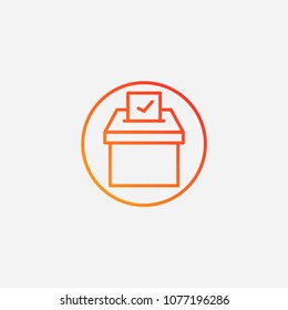 Outline election box icon.gradient illustration vector sign symbol