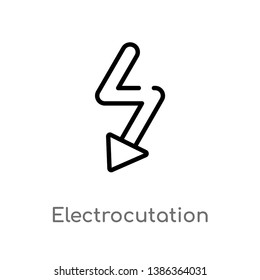 outline electrocutation danger vector icon. isolated black simple line element illustration from maps and flags concept. editable vector stroke electrocutation danger icon on white background