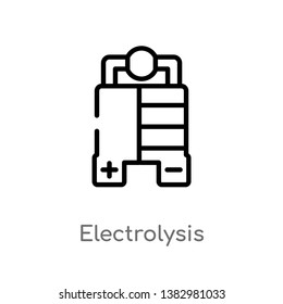 outline electrolysis vector icon. isolated black simple line element illustration from industry concept. editable vector stroke electrolysis icon on white background