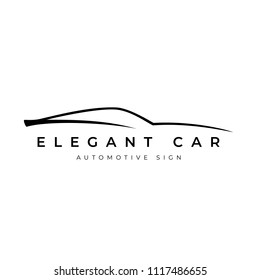 Outline elegant car sign for your project