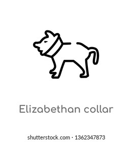 outline elizabethan collar vector icon. isolated black simple line element illustration from animals concept. editable vector stroke elizabethan collar icon on white background