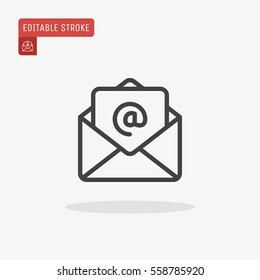 Outline email icon isolated on grey background. Open envelope pictogram. Line mail symbol for website design, mobile application, ui. Editable stroke. Vector illustration. Eps10
