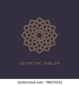 Outline emblem template design on a dark background. Vector illustration.