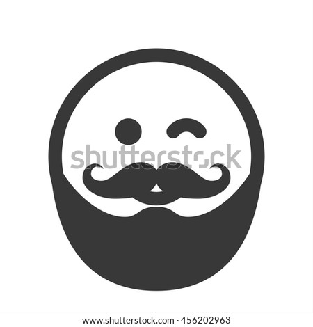 outline emoticon emoji isolated on white background smiley face happy hipster person with