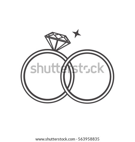 Outline Engagement Wedding Rings Stock Vector Royalty Free