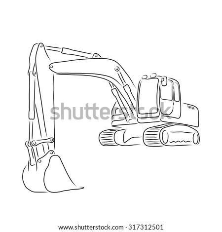 Outline Of Excavator Isolated On White Background Vector Illustration