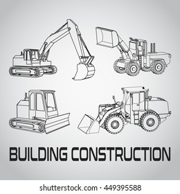 Outline Excavator Set Icon. Isometric of Building Construction Illustration. Business Card of Contractor.