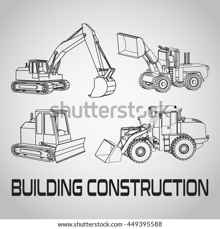 Outline Excavator Set Icon Isometric Of Building Construction Illustration Business Card Contractor