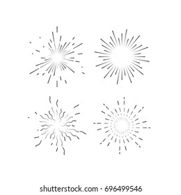 Outline explosive firework shapes. Starburst or sunburst collection. Vintage burst light rays. Vector graphic sketch illustration. Set of label or hipster logo design elements