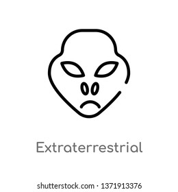outline extraterrestrial vector icon. isolated black simple line element illustration from astronomy concept. editable vector stroke extraterrestrial icon on white background