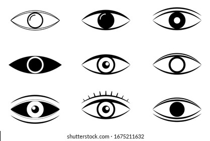 Outline eye icons. Open eyes images, eye shapes with eyelash. Vector illustration EPS10
