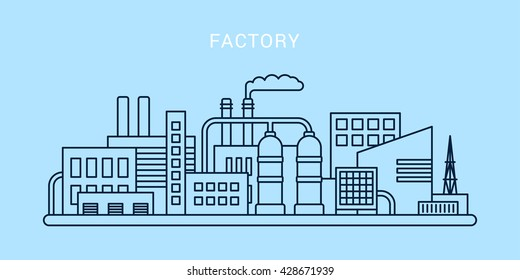An outline of a factory on light blue background. Flat vector illustration