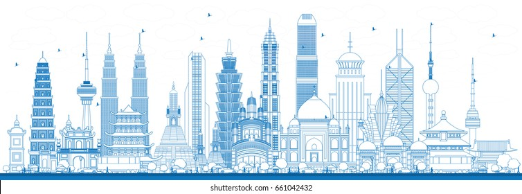 Outline Famous Landmarks in Asia. Vector Illustration. Business Travel and Tourism Concept. Image for Presentation, Banner, Placard and Web Site