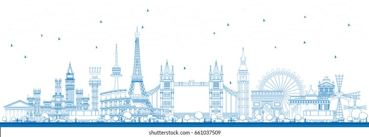 Outline Famous Landmarks in Europe. Vector Illustration. Business Travel and Tourism Concept. Image for Presentation, Banner, Placard and Web Site
