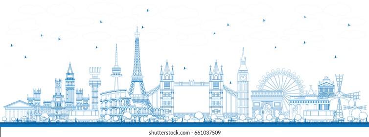 Décrire les monuments célèbres en Europe. Illustration vectorielle. Concept de voyages d'affaires et de tourisme. Image de présentation, bannière, affiche et site Web