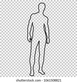 Outline figure naked man full-length with a beautiful sports figure, contour portrait male muscular athlete on transparent background, vector silhouette human, black and white line drawing, stencil