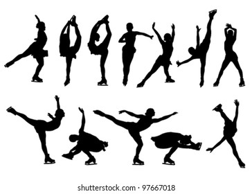 outline of figures of figure skaters on a white background