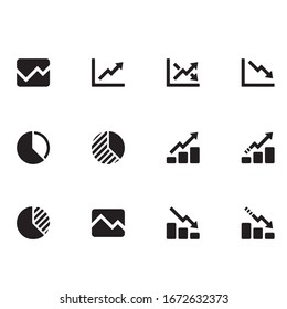 Outline finance graph chart vector icon for web design isolated on white background