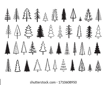 Outline fir tree hand drawn set. Simple style trees.