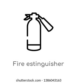 outline fire estinguisher vector icon. isolated black simple line element illustration from general concept. editable vector stroke fire estinguisher icon on white background