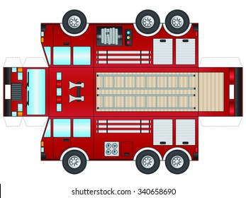 Outline of a Fire Truck to cut out and glue into a 3D model