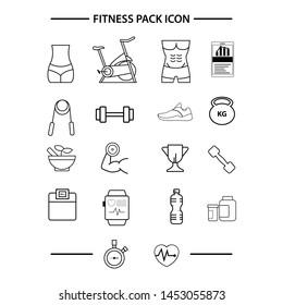 Outline fitness icon logo set vector design