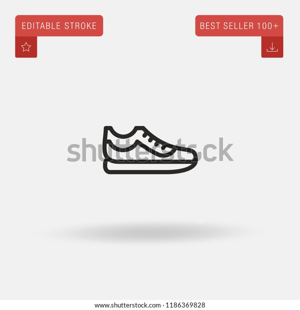 a384993f Outline Fitness Shoes icon isolated on grey background. Line pictogram.  Premium symbol for website