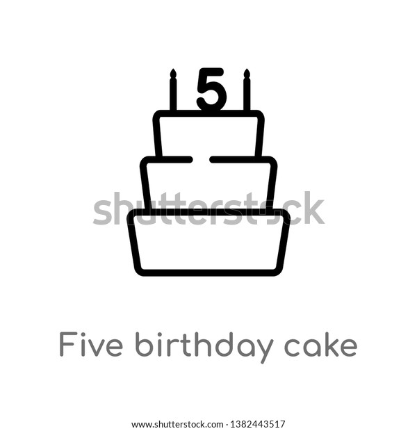 Outstanding Outline Five Birthday Cake Vector Icon Stock Image Download Now Birthday Cards Printable Trancafe Filternl